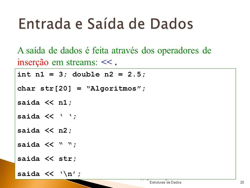 © Copyright 2008 Algoritmos e Estruturas de Dados A saída de dados é feita através dos operadores de inserção em streams: <<. int n1 = 3; double n2 =