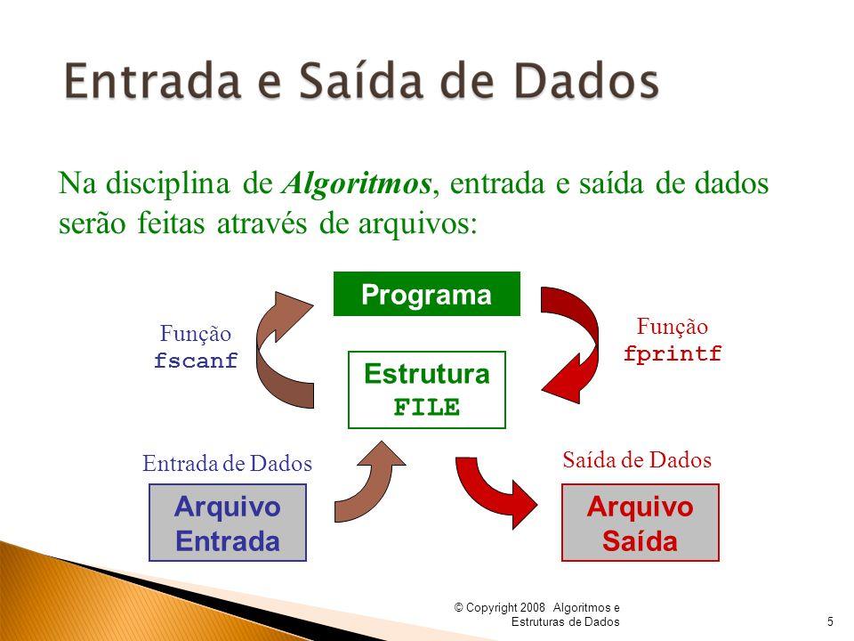 Na disciplina de Algoritmos, entrada e saída de dados serão feitas através de arquivos: Programa Estrutura FILE Arquivo Entrada Arquivo Saída Entrada