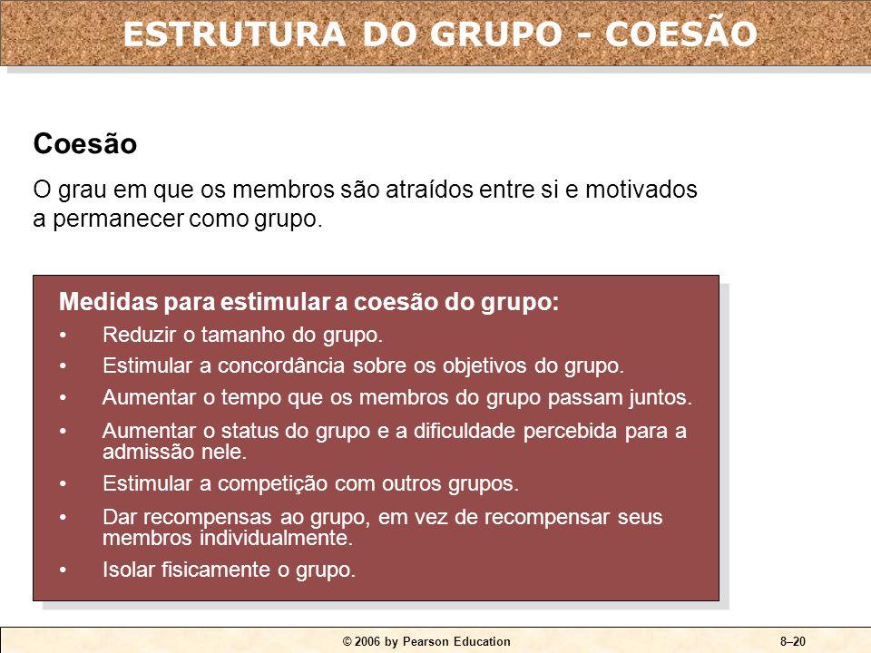 © 2006 by Pearson Education8–19 Group Size Performance Expected Actual (due to loafing) Outras conclusões: Grupos com número ímpar de membros tendem a