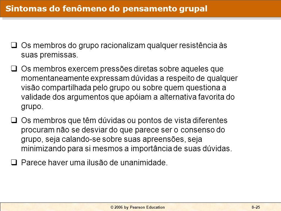 © 2006 by Pearson Education8–24 Pensamento grupal Fenômeno no qual as normas para o consenso passam por cima da avaliação realista das alternativas de