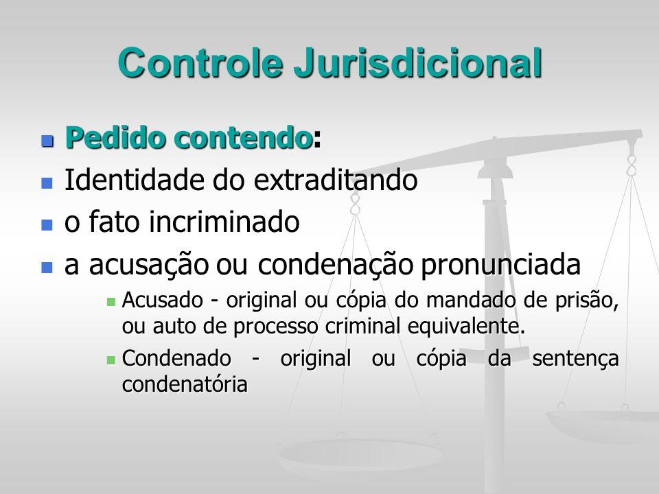 Controle Jurisdicional Pedido contendo: Pedido contendo: Identidade do extraditando Identidade do extraditando o fato incriminado o fato incriminado a