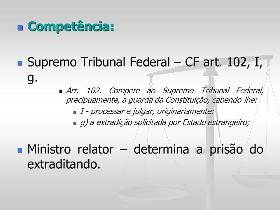 Competência: Competência: Supremo Tribunal Federal – CF art. 102, I, g. Supremo Tribunal Federal – CF art. 102, I, g. Art. 102. Compete ao Supremo Tri
