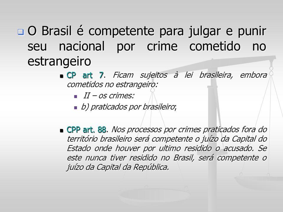 O Brasil é competente para julgar e punir seu nacional por crime cometido no estrangeiro O Brasil é competente para julgar e punir seu nacional por cr
