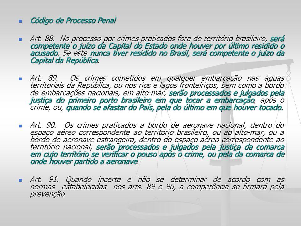 Código de Processo Penal Código de Processo Penal Art. 88. No processo por crimes praticados fora do território brasileiro, será competente o juízo da