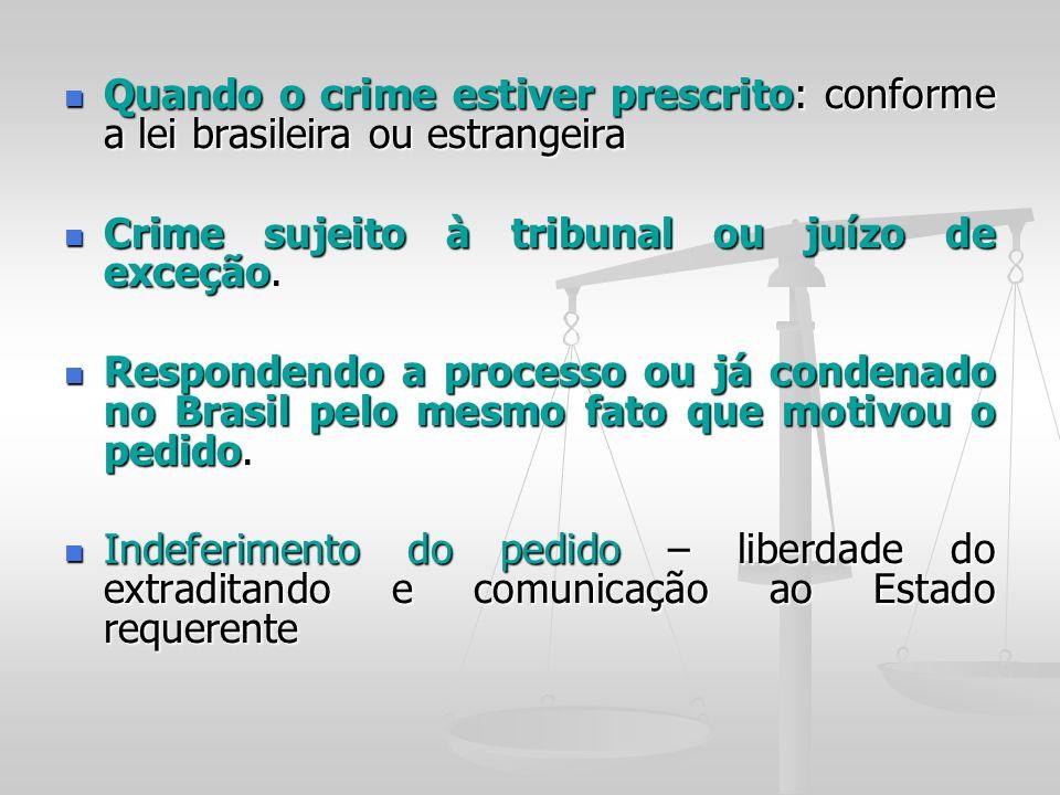 Quando o crime estiver prescrito: conforme a lei brasileira ou estrangeira Quando o crime estiver prescrito: conforme a lei brasileira ou estrangeira