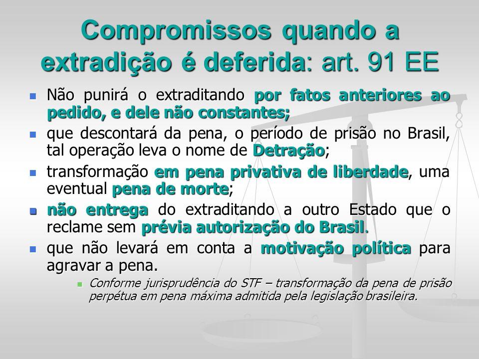 Compromissos quando a extradição é deferida: art. 91 EE Não punirá o extraditando por fatos anteriores ao pedido, e dele não constantes; Não punirá o