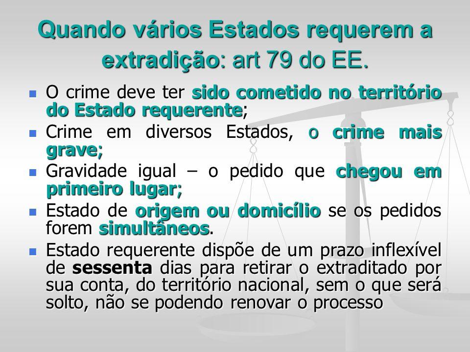 Quando vários Estados requerem a extradição: art 79 do EE. O crime deve ter sido cometido no território do Estado requerente; O crime deve ter sido co