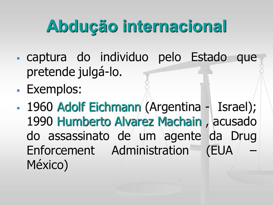 Abdução internacional captura do individuo pelo Estado que pretende julgá-lo. captura do individuo pelo Estado que pretende julgá-lo. Exemplos: Exempl