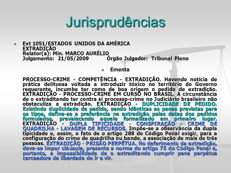 Jurisprudências Ext 1051/ESTADOS UNIDOS DA AMÉRICA EXTRADIÇÃO Relator(a): Min. MARCO AURÉLIO Julgamento: 21/05/2009 Órgão Julgador: Tribunal Pleno Ext