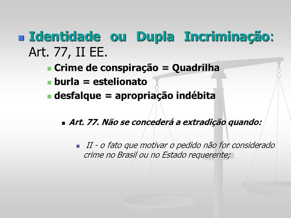 Identidade ou Dupla Incriminação: Art. 77, II EE. Identidade ou Dupla Incriminação: Art. 77, II EE. Crime de conspiração = Quadrilha Crime de conspira