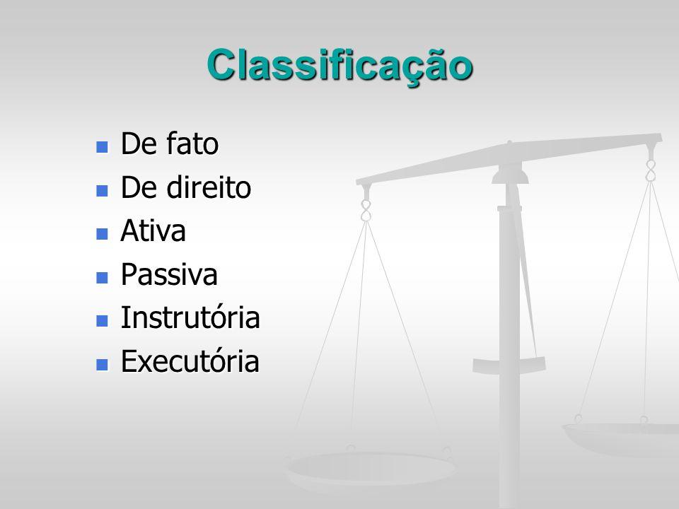 Classificação De fato De fato De direito De direito Ativa Ativa Passiva Passiva Instrutória Instrutória Executória Executória