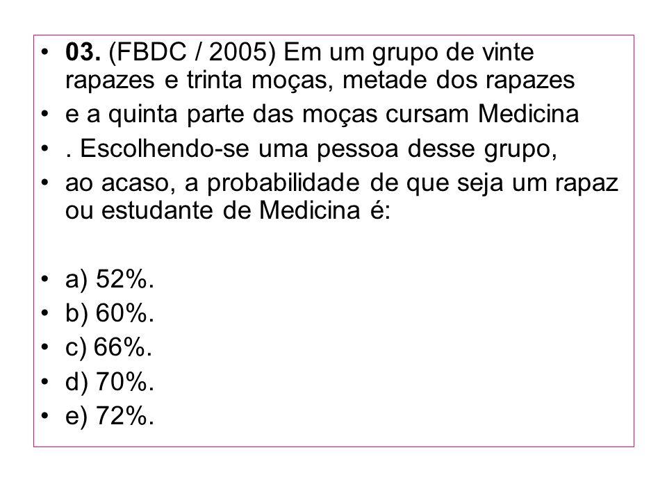03. (FBDC / 2005) Em um grupo de vinte rapazes e trinta moças, metade dos rapazes e a quinta parte das moças cursam Medicina. Escolhendo-se uma pessoa