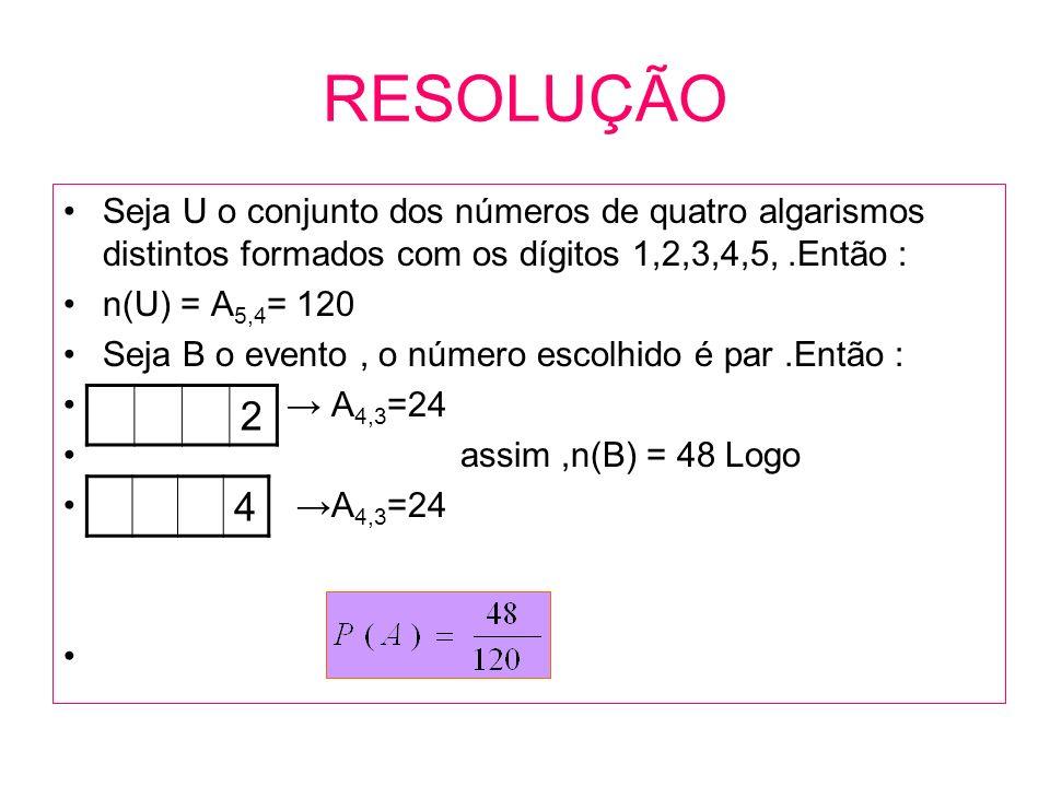 RESOLUÇÃO Seja U o conjunto dos números de quatro algarismos distintos formados com os dígitos 1,2,3,4,5,.Então : n(U) = A 5,4 = 120 Seja B o evento,