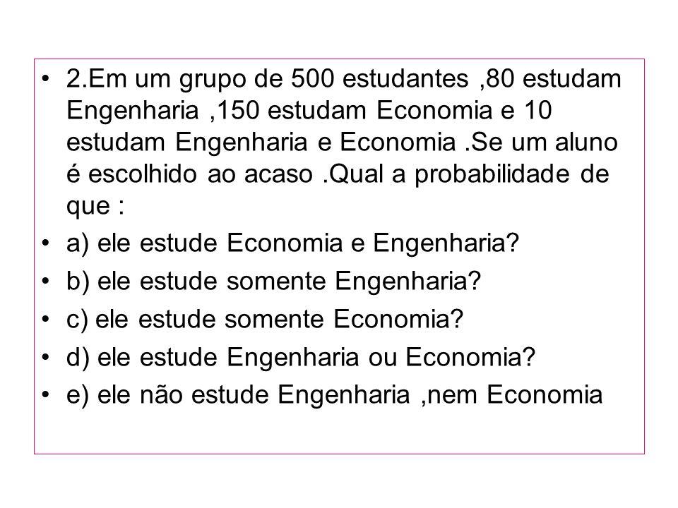 2.Em um grupo de 500 estudantes,80 estudam Engenharia,150 estudam Economia e 10 estudam Engenharia e Economia.Se um aluno é escolhido ao acaso.Qual a