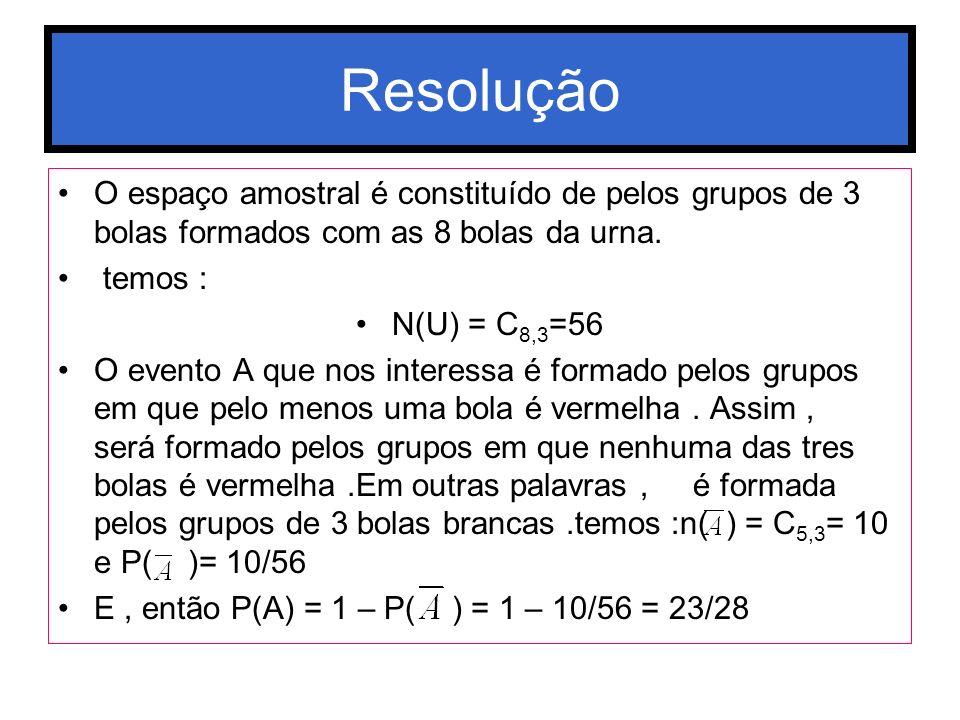 Resolução O espaço amostral é constituído de pelos grupos de 3 bolas formados com as 8 bolas da urna. temos : N(U) = C 8,3 =56 O evento A que nos inte