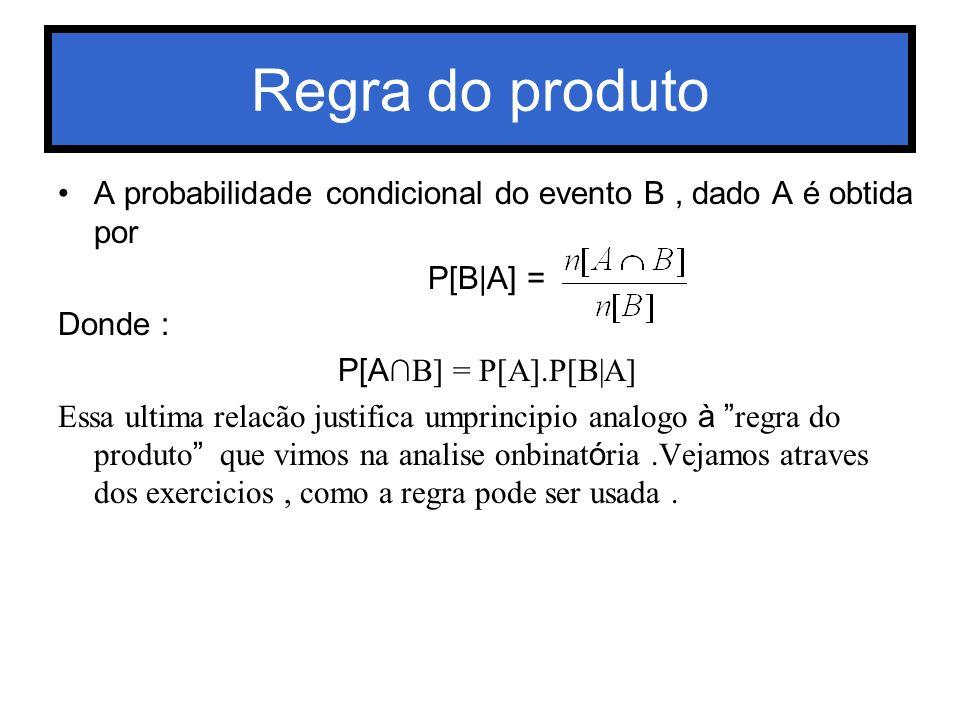 Regra do produto A probabilidade condicional do evento B, dado A é obtida por P[B A] = Donde : P[A B] = P[A].P[B A] Essa ultima relacão justifica umpr