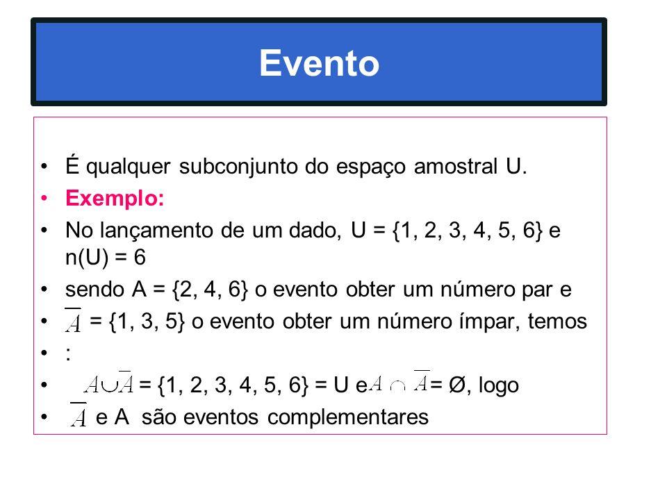 Evento É qualquer subconjunto do espaço amostral U. Exemplo: No lançamento de um dado, U = {1, 2, 3, 4, 5, 6} e n(U) = 6 sendo A = {2, 4, 6} o evento