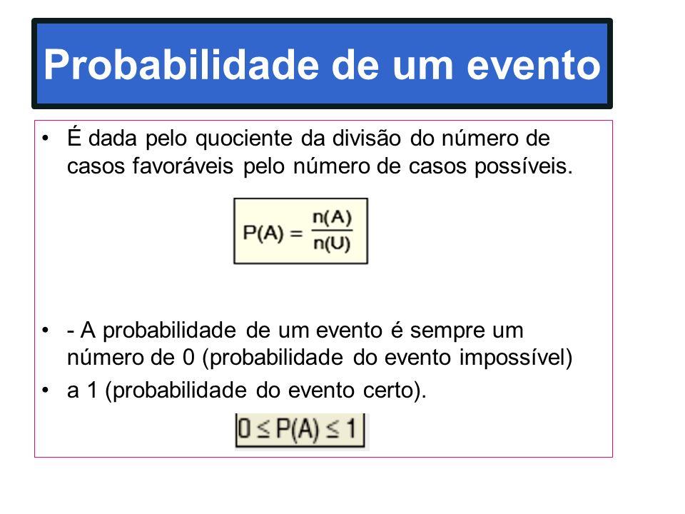Probabilidade de um evento É dada pelo quociente da divisão do número de casos favoráveis pelo número de casos possíveis. - A probabilidade de um even