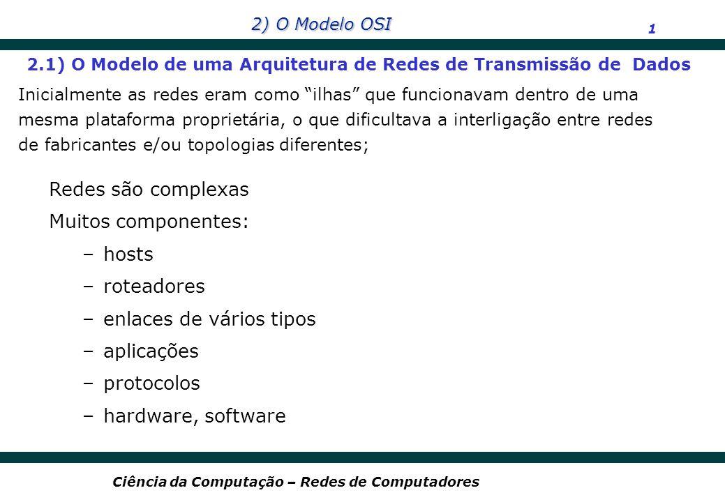 2) O Modelo OSI 2 Ciência da Computação – Redes de Computadores passagem (compra) bagagem (verificação) portões (carga) decolagem navegação aérea passagem (reclamação) bagagem (receber) portões (descarga) aterrisagem navegação aérea Roteamento da aeronave 2.1) O Modelo de uma Arquitetura de Redes de Transmissão de Dados (cont) Para atividades complexas, que envolvem diversas áreas com responsabilidades bem definidas, o modelo de divisão do processo em camadas pode ser adotado; Exemplo Prático: Organização de uma viagem aérea
