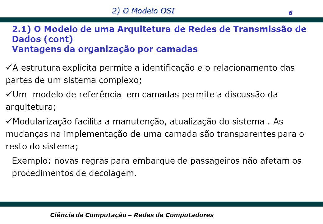 2) O Modelo OSI 7 Ciência da Computação – Redes de Computadores Em 1978 o órgão ISO (International Organization for Standardization) criou o subcomitê SC16, responsável pelo estudo e elaboração de um conjunto de especificações para a interconexão de sistemas abertos; Em 1984 foi publicado e oficializado a norma internacional RM/OSI (Reference Model for Open System Interconection) sob o código ISO/TC97/SC16 7498/1; Este modelo descreve ambientes de rede, baseado em uma arquitetura formada por 7 camadas (ou níveis), onde cada uma delas fornece serviços de comunicação com um certo grau de confiabilidade, proporcionando uma descrição de como o software de rede e o hardware trabalham em conjunto.