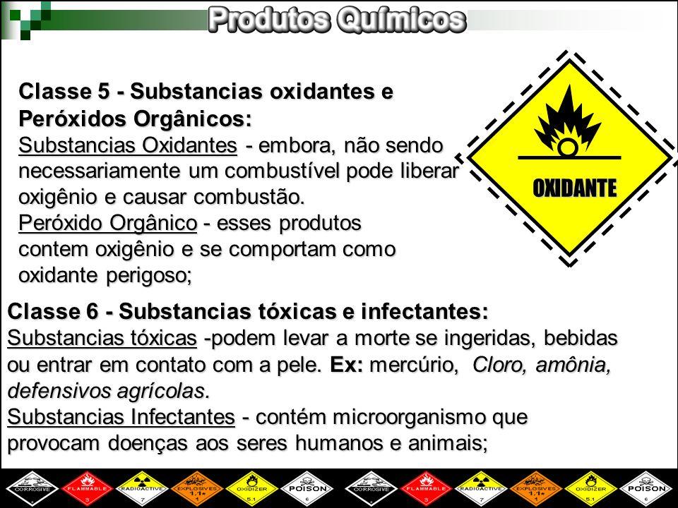 Classe 5 - Substancias oxidantes e Peróxidos Orgânicos: Substancias Oxidantes - embora, não sendo necessariamente um combustível pode liberar oxigênio