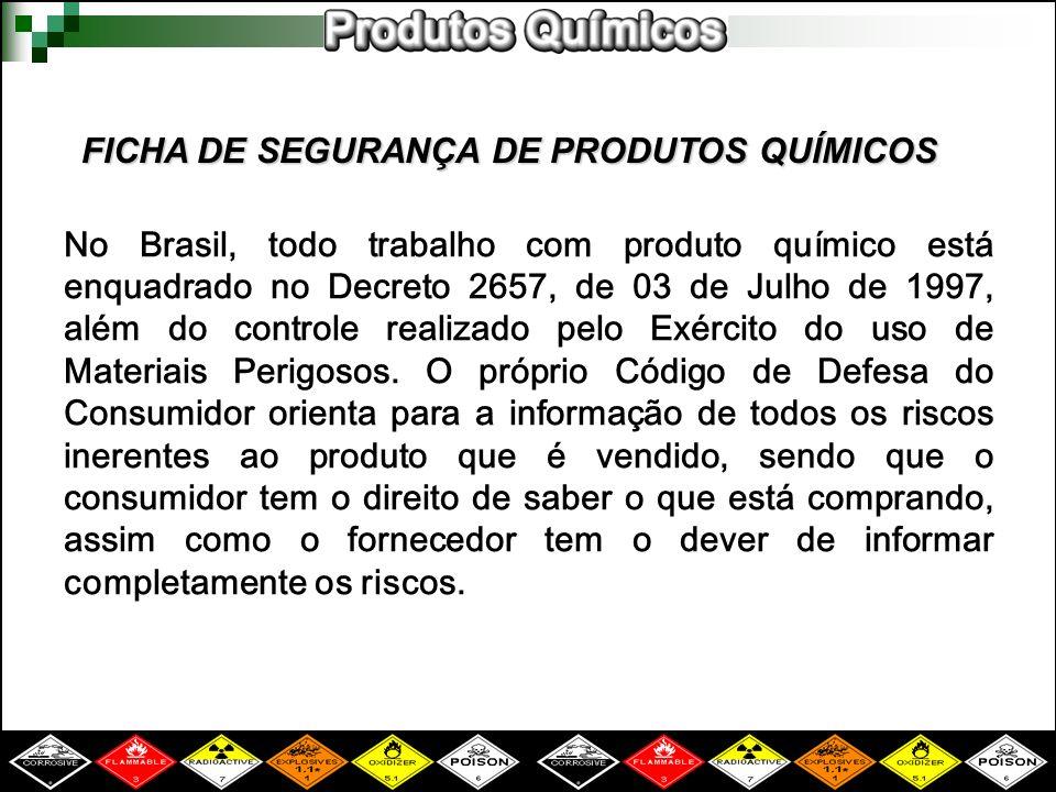 No Brasil, todo trabalho com produto químico está enquadrado no Decreto 2657, de 03 de Julho de 1997, além do controle realizado pelo Exército do uso