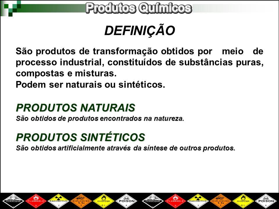DEFINIÇÃO São produtos de transformação obtidos por meio de processo industrial, constituídos de substâncias puras, compostas e misturas. Podem ser na
