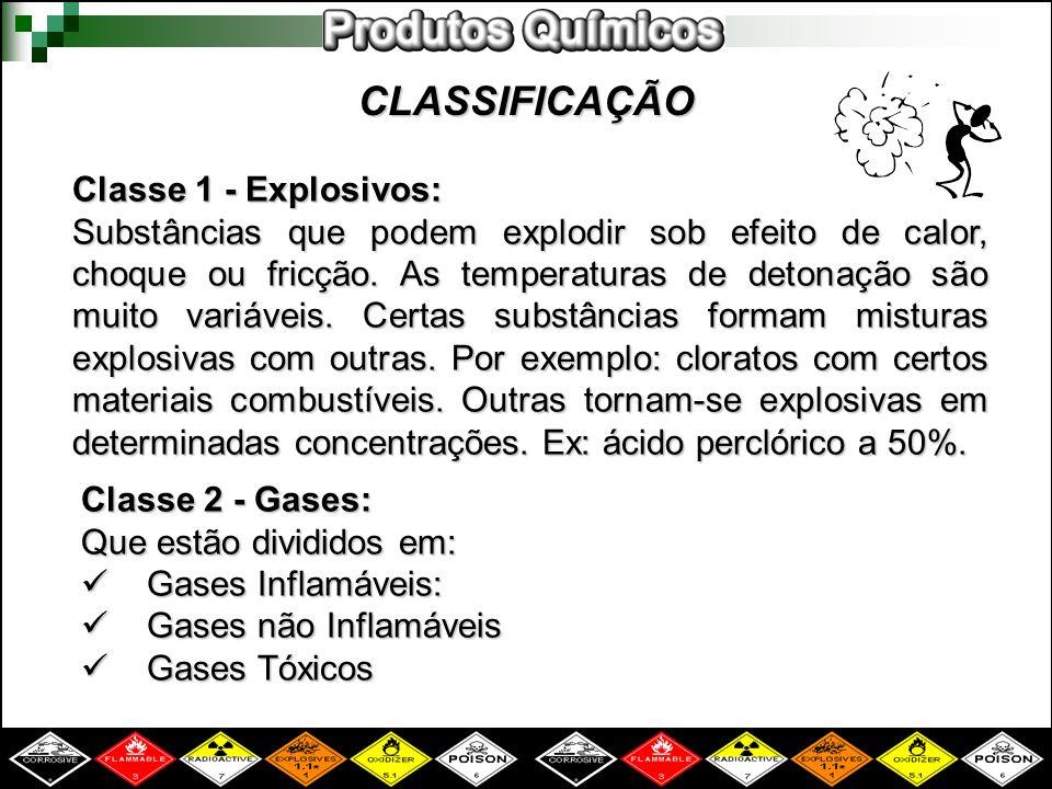 CLASSIFICAÇÃO Classe 1 - Explosivos: Substâncias que podem explodir sob efeito de calor, choque ou fricção. As temperaturas de detonação são muito var