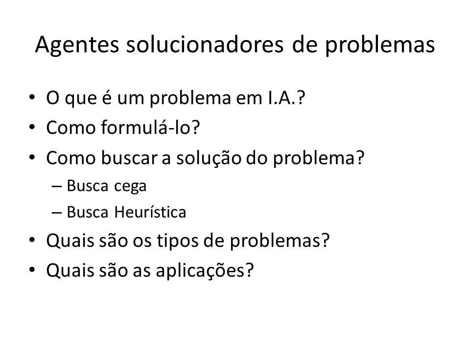 Agentes solucionadores de problemas O que é um problema em I.A.? Como formulá-lo? Como buscar a solução do problema? – Busca cega – Busca Heurística Q
