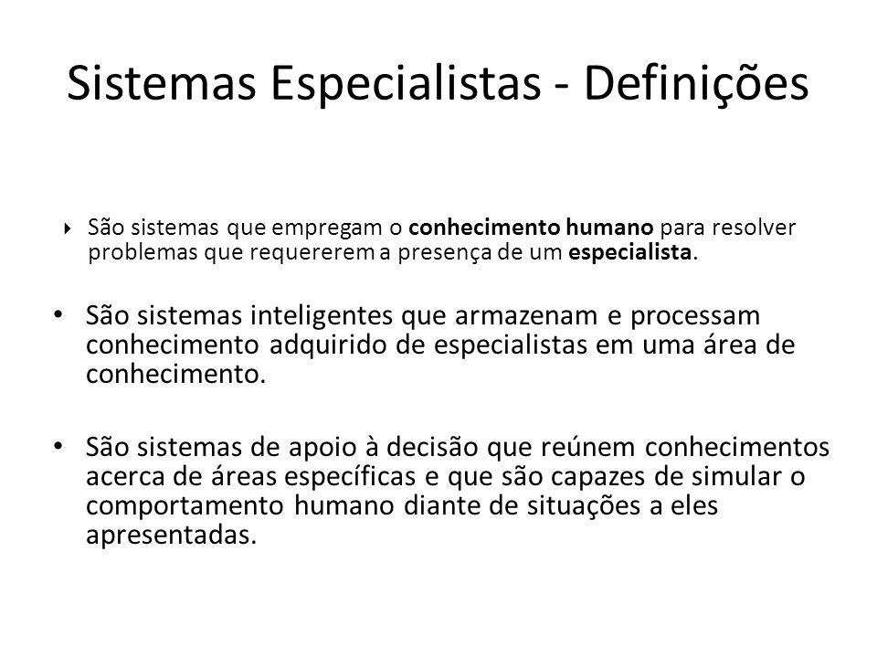 São sistemas que empregam o conhecimento humano para resolver problemas que requererem a presença de um especialista. São sistemas inteligentes que ar