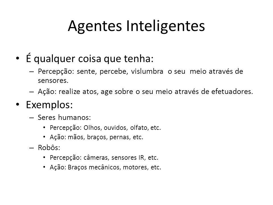 Agentes Inteligentes É qualquer coisa que tenha: – Percepção: sente, percebe, vislumbra o seu meio através de sensores. – Ação: realize atos, age sobr