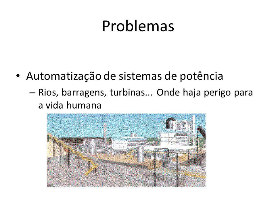 Problemas Automatização de sistemas de potência – Rios, barragens, turbinas... Onde haja perigo para a vida humana