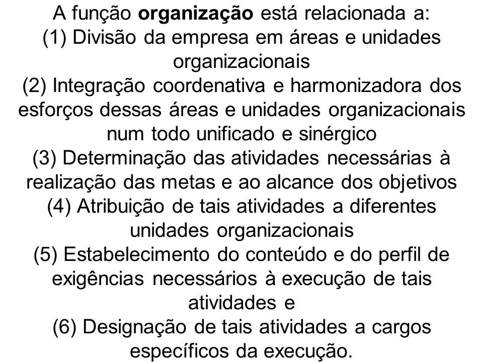 A análise da repartição do trabalho entre as unidades organizacionais e dentro dessas mesmas unidades deve ser realizada quando: (1) Cria-se a empresa ou uma unidade organizacional ou (2) Altera-se o trabalho realizado na empresa ou em uma unidade organizacional ou (3) Racionaliza-se o trabalho realizado na empresa ou em uma unidade organizacional.