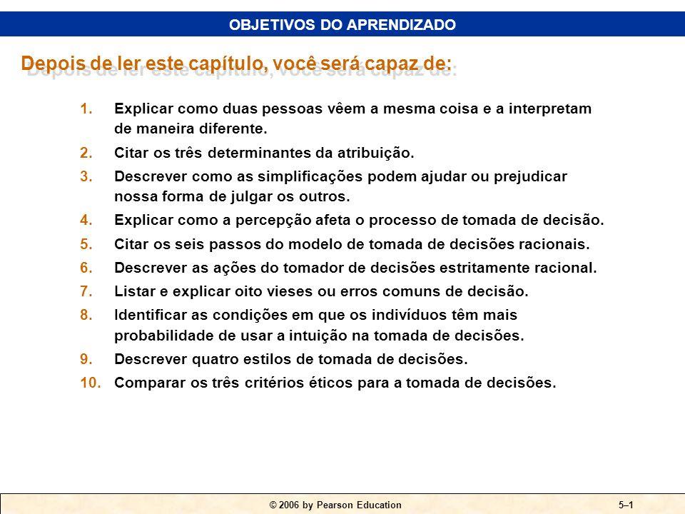 © 2006 by Pearson Education PERCEPÇÃO E TOMADA DE DECISÕES INDIVIDUAL O INDIVÍDUO 5 CAPÍTULO PARTE II