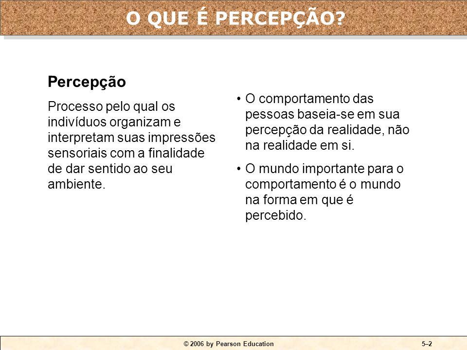 © 2006 by Pearson Education5–1 1.Explicar como duas pessoas vêem a mesma coisa e a interpretam de maneira diferente. 2.Citar os três determinantes da
