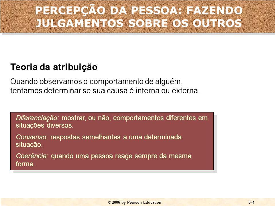 © 2006 by Pearson Education5–3 QUADRO 5-1 Fatores que influenciam a percepção