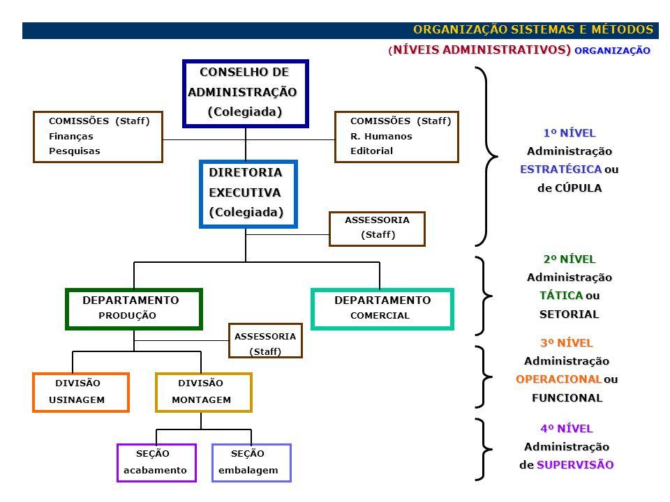 ORGANIZAÇÃO SISTEMAS E MÉTODOS NÍVEIS ADMINISTRATIVOS) ORGANIZAÇÃO ( NÍVEIS ADMINISTRATIVOS) ORGANIZAÇÃO CONSELHO DE CONSELHO DE ADMINISTRAÇÃO ADMINIS