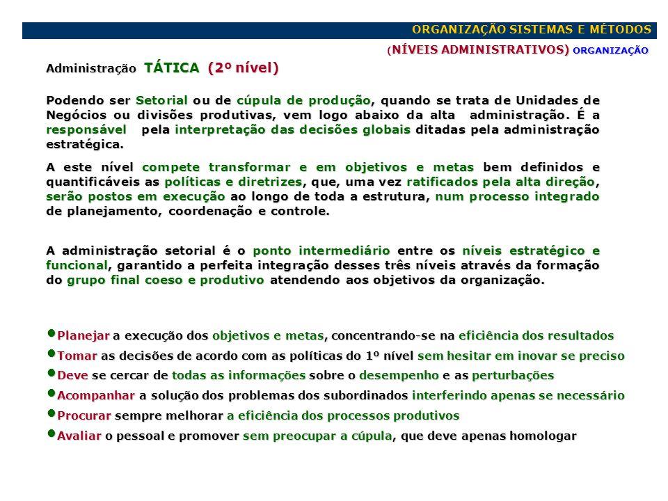 ORGANIZAÇÃO SISTEMAS E MÉTODOS NÍVEIS ADMINISTRATIVOS) ORGANIZAÇÃO ( NÍVEIS ADMINISTRATIVOS) ORGANIZAÇÃO Administração FUNCIONAL (3º nível) Ou GERENCIAL, situa-se imediatamente abaixo da administração de segundo nível.