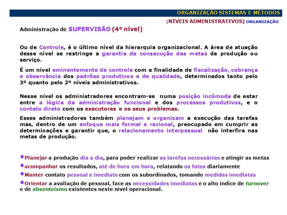 ORGANIZAÇÃO SISTEMAS E MÉTODOS NÍVEIS ADMINISTRATIVOS) ORGANIZAÇÃO ( NÍVEIS ADMINISTRATIVOS) ORGANIZAÇÃO ATRIBUIÇÕES GERENCIAIS ADMINISTRAÇÃO ADMINISTRAÇÃO ESTRATÉGICA ou ESTRATÉGICA ou CÚPULA CÚPULA (1º nível adm.) (1º nível adm.).