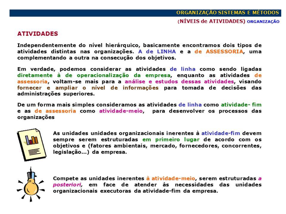 ORGANIZAÇÃO SISTEMAS E MÉTODOS NÍVEIS de ATIVIDADES) ORGANIZAÇÃO ( NÍVEIS de ATIVIDADES) ORGANIZAÇÃO ATIVIDADES Independentemente do nível hierárquico