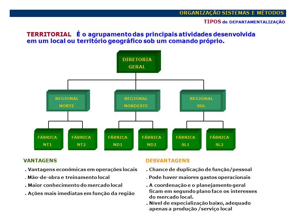 ORGANIZAÇÃO SISTEMAS E MÉTODOS TIPOS de DEPARTAMENTALIZAÇÃO PRODUTOS/SERVIÇOS O agrupamento é feito de acordo com a natureza e atividade inerente a cada produto ou serviço DIRETORIA GERAL VANTAGENS.
