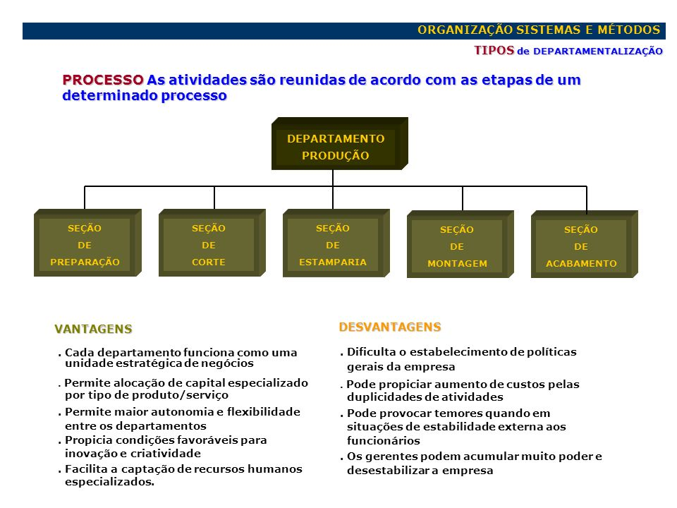 ORGANIZAÇÃO SISTEMAS E MÉTODOS TIPOS de DEPARTAMENTALIZAÇÃO PROCESSO As atividades são reunidas de acordo com as etapas de um determinado processo DEP