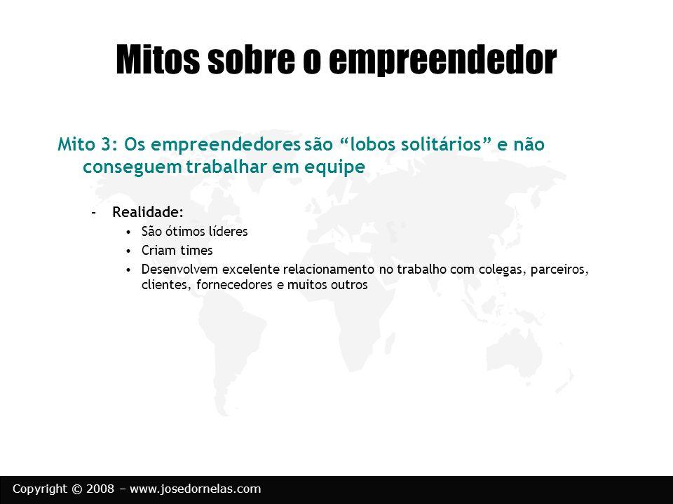 Copyright © 2008 – www.josedornelas.com Mitos sobre o empreendedor Mito 3: Os empreendedores são lobos solitários e não conseguem trabalhar em equipe