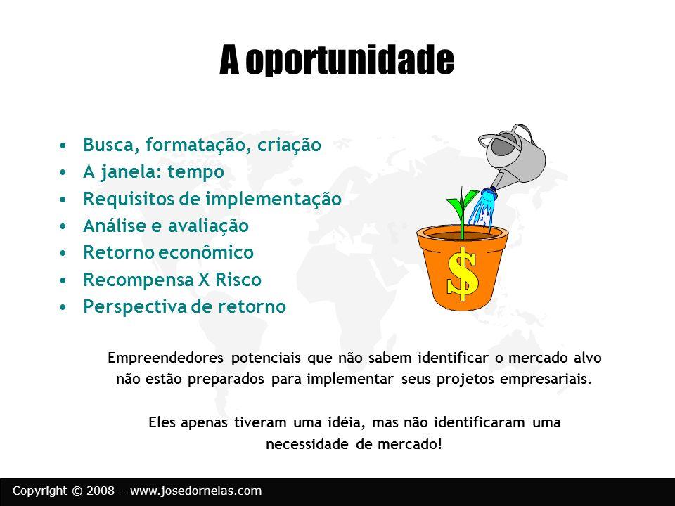 Copyright © 2008 – www.josedornelas.com A oportunidade Busca, formatação, criação A janela: tempo Requisitos de implementação Análise e avaliação Reto