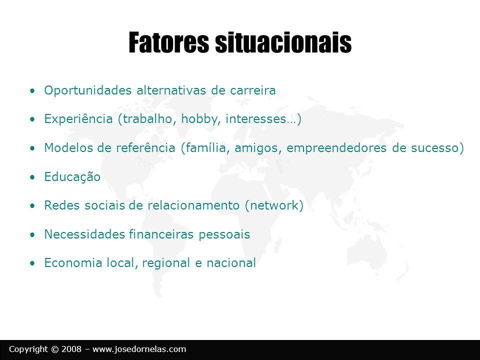 Copyright © 2008 – www.josedornelas.com Fatores situacionais Oportunidades alternativas de carreira Experiência (trabalho, hobby, interesses…) Modelos