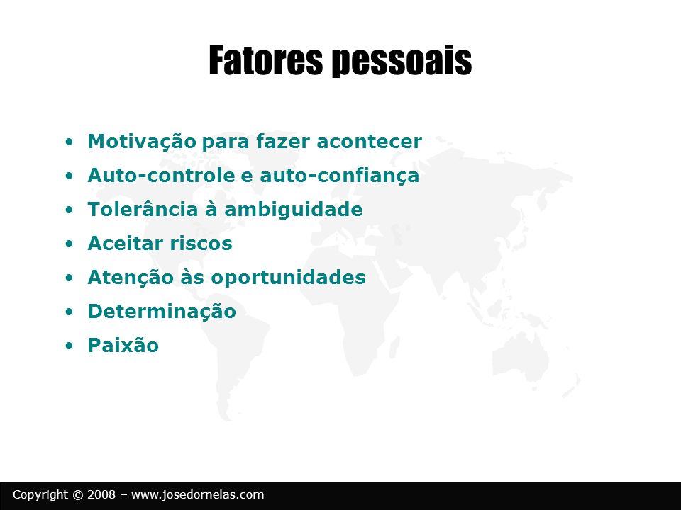 Copyright © 2008 – www.josedornelas.com Fatores pessoais Motivação para fazer acontecer Auto-controle e auto-confiança Tolerância à ambiguidade Aceita