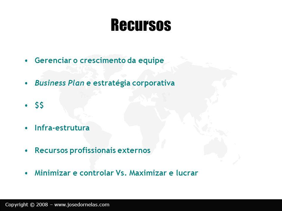 Copyright © 2008 – www.josedornelas.com Recursos Gerenciar o crescimento da equipe Business Plan e estratégia corporativa $$ Infra-estrutura Recursos