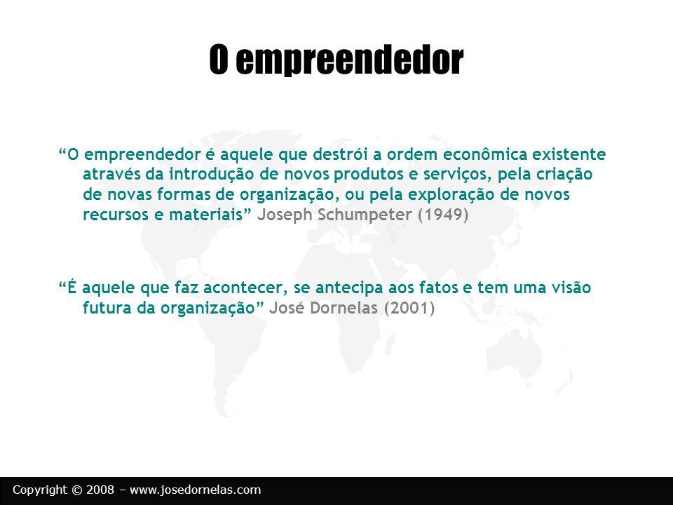 Copyright © 2008 – www.josedornelas.com O empreendedor O empreendedor é aquele que destrói a ordem econômica existente através da introdução de novos
