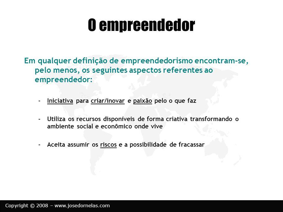 Copyright © 2008 – www.josedornelas.com O empreendedor Em qualquer definição de empreendedorismo encontram-se, pelo menos, os seguintes aspectos refer