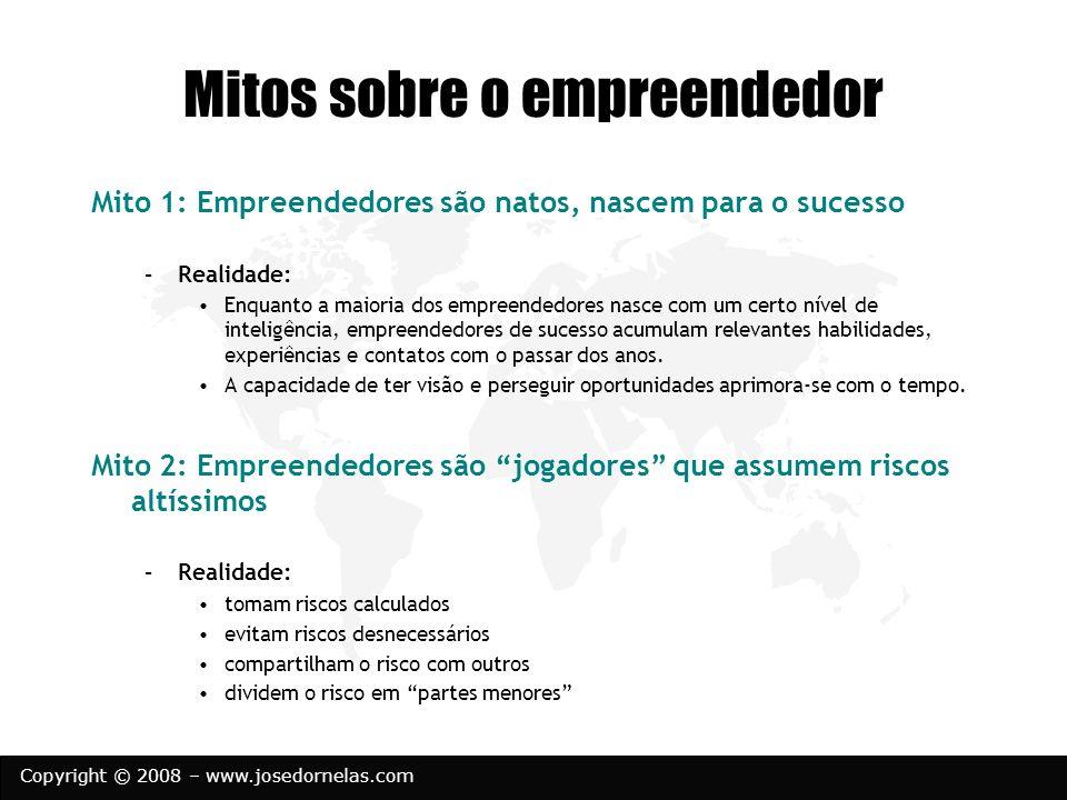 Copyright © 2008 – www.josedornelas.com Mitos sobre o empreendedor Mito 1: Empreendedores são natos, nascem para o sucesso –Realidade: Enquanto a maio